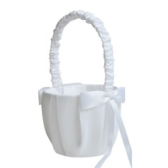Elegant Flower Basket in Satin With Bow (102190541)