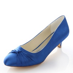 Women's Silk Like Satin Kitten Heel Closed Toe With Bowknot