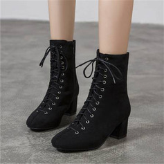 Women's Suede Chunky Heel Mid-Calf Boots With Lace-up shoes (088218017)