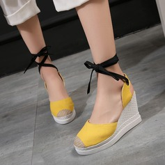 Women's Leatherette Wedge Heel Sandals Wedges Peep Toe With Lace-up shoes
