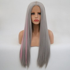 Straight Syntetisk Lace Front Parykar