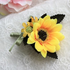 Unique Sunflower Satin Boutonniere/Men's Accessories