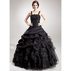 Ball-Gown Square Neckline Floor-Length Taffeta Organza Quinceanera Dress With Beading Appliques Lace Sequins Cascading Ruffles (021002873)