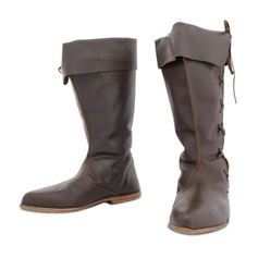 Women's Leatherette Flat Heel Flats Boots Knee High Boots With Lace-up shoes
