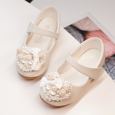 Girl's Round Toe Closed Toe Leatherette Flats With Velcro Flower