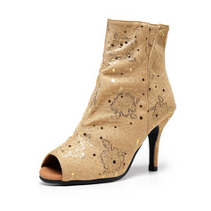 Women's Suede Boots Latin With Animal Print Dance Shoes