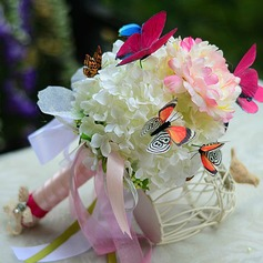 Beautiful Butterfly Hand-tied Satin/Organza Bridesmaid Bouquets -