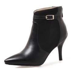 Kvinnor Konstläder Stilettklack Pumps Stängt Toe Stövlar Boots Halva Vaden Stövlar med Spänne Zipper skor