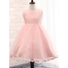 A-Line/Princess Knee-length Flower Girl Dress - Lace/Cotton Blends Sleeveless Scoop Neck With Bow(s)