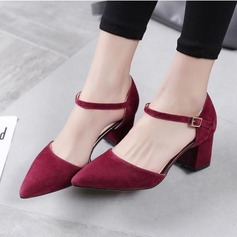 Women's Suede Chunky Heel Pumps shoes (085102139)