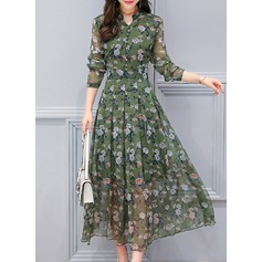 Chiffon With Stitching Midi Dress (199134704)