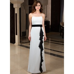 Sheath/Column Sweetheart Floor-Length Chiffon Bridesmaid Dress With Sash Flower(s) Cascading Ruffles