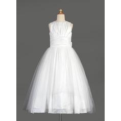 Robe Empire Longueur mollet Robes à Fleurs pour Filles - Taffeta/Tulle Sans manches Col rond avec À ruban(s)