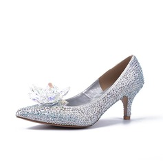 Sparkling Glitter Stiletto Heel Pumps Closed Toe With Rhinestone shoes