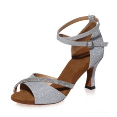 Women's Leatherette Heels Sandals Latin With Rhinestone Ankle Strap Dance Shoes (274194924)