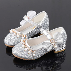 Jentas Round Toe Sparkling Glitter Flower Girl Shoes med Profilering Bowknot Crystal Perle