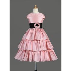 Forme Princesse Longueur mollet Robes à Fleurs pour Filles - Taffeta Sans manches Col rond avec Plissé/Ceintures/Fleur(s)/À ruban(s)
