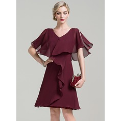 A-Line/Princess V-neck Knee-Length Chiffon Cocktail Dress With Cascading Ruffles