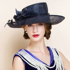 Ladies' Charming Summer Cambric With Feather Bowler/Cloche Hat