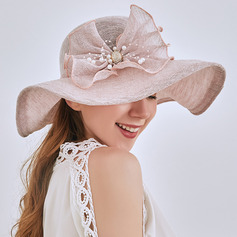 Ladies ' Elegant/Enkle Linned med Imiteret Pearl Strand / Sun Hatte/Tea Party Hats