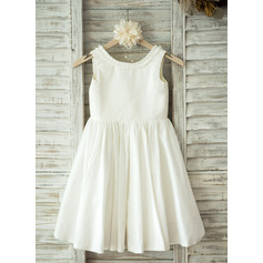 A-Line/Princess Knee-length Flower Girl Dress - Cotton Sleeveless Scoop Neck