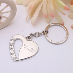 Personalized Heart Shaped Heart Shaped Zinc Alloy Keychains With Rhinestone