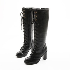 Women's Leatherette Chunky Heel Knee High Boots With Lace-up shoes (088103152)
