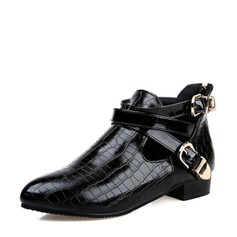 Women's PU Low Heel Boots Ankle Boots With Buckle Zipper shoes (088130307)