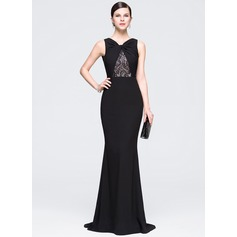 Trumpet/Mermaid V-neck Sweep Train Chiffon Evening Dress With Ruffle Lace Beading