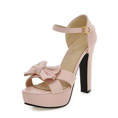 Donna Similpelle Tacco spesso Stiletto Piattaforma con Bowknot scarpe