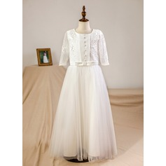 A-Line/Princess Floor-length Flower Girl Dress - Tulle/Lace 3/4 Sleeves Jewel