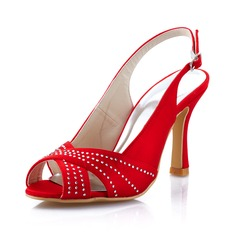 Women's Satin Stiletto Heel Peep Toe Pumps Slingbacks With Rhinestone