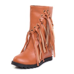 Women's Leatherette Wedge Heel Closed Toe Wedges Ankle Boots shoes