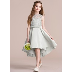 A-Line/Princess Scoop Neck Asymmetrical Satin Junior Bridesmaid Dress (009095078)