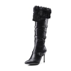 Women's PU Stiletto Heel Pumps Knee High Boots With Buckle Zipper Fur shoes