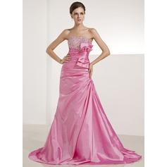 A-Line/Princess Sweetheart Sweep Train Taffeta Prom Dress With Ruffle Beading