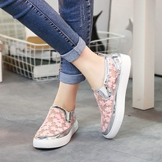 Women's Lace Flat Heel Flats With Stitching Lace shoes