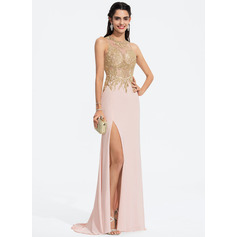 Sheath/Column Scoop Neck Sweep Train Jersey Prom Dresses With Lace