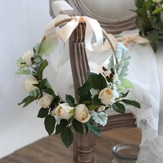 Charming Round Satin Bridal Bouquets/Bridesmaid Bouquets (Sold in a single piece) - Headdress Flower