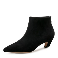 Women's Suede Chunky Heel Pumps Ankle Boots With Zipper shoes