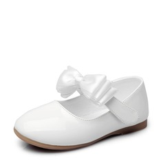 Girl's Closed Toe Patent Leather Flat Heel Flats Flower Girl Shoes With Bowknot Velcro