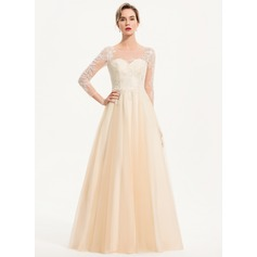 A-Line Scoop Neck Floor-Length Tulle Wedding Dress