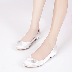 Women's Silk Like Satin Low Heel Closed Toe Flats With Bowknot Buckle