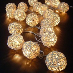 White Rattan Balls LED Lights String 5M x 20 LEDs DIY Wedding Party Decoration or Christmas Decor