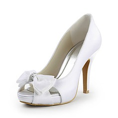 Women's Satin Cone Heel Peep Toe Platform Pumps With Bowknot Rhinestone