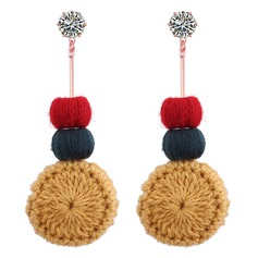 Exquisite Alloy Cotton String Women's Fashion Earrings (Set of 2)