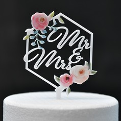Classic/Mr. & Mrs./Flower Acrylic Cake Topper (Sold in a single piece)
