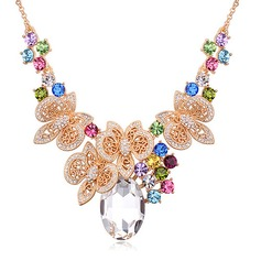 Shining Alloy Gold Plated With Imitation Crystal Glasses Ladies' Fashion Necklace