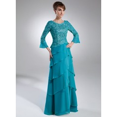 A-Line/Princess Scoop Neck Sweep Train Chiffon Lace Mother of the Bride Dress With Cascading Ruffles