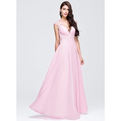 A-Line/Princess V-neck Floor-Length Chiffon Prom Dress With Ruffle Beading Appliques Lace Sequins